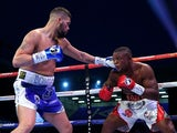 Tony Bellew lands a left shot on Illunga Makabu during the vacant WBC world cruiserweight championship fight at Goodison Park on May 29, 2016