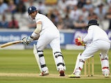 Alex Hales of England bats during day three of the third Test against Sri Lanka at Lord's on June 11, 2016