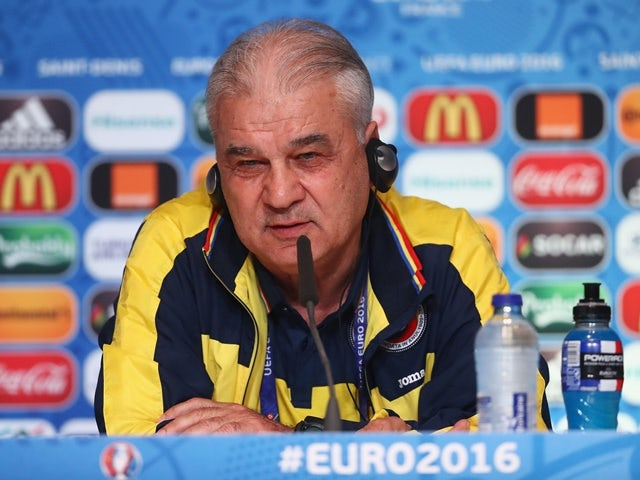 Anghel Iordanescu, coach of Romania, talks during a press conference on June 9, 2016