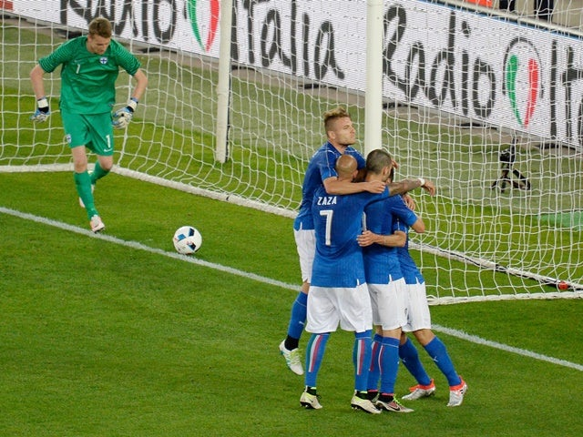 Antonio Candreva of Italy celebrates after scoring his opening goal from the penalty spot during the international friendly against Finland on June 6, 2016