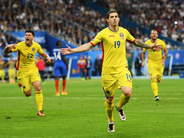 Bogdan Stancu of Romania celebrates scoring his team's first goal during the UEFA Euro 2016 Group A match between France and Romania at Stade de France on June 10, 2016 in Paris, France