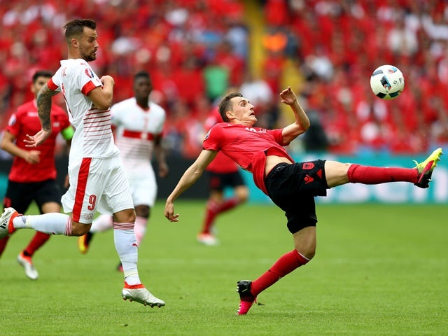 Burim Kukeli of Albania clears the ball during the Euro 2016 Group A match against Switzerland on June 11, 2016