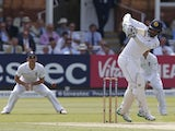 Sri Lanka's Dimuth Karunaratne plays a shot on the second day of the third Test against England on June 10, 2016