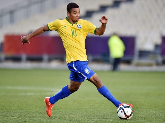 Gabriel Jesus of Brazil takes a pass during the FIFA Under-20 World Cup semi-final against Senegal on June 17, 2015