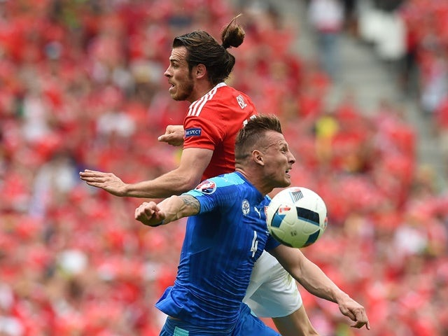 Wales's Gareth Bale and Slovakia's Jan Durica during their Euro 2016 Group B match on June 11, 2016