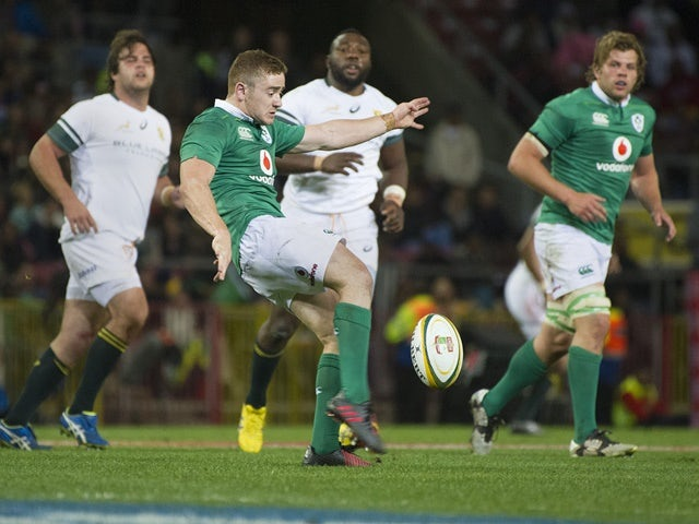 Paddy Jackson from Ireland gets ready to kick during the Test against South Africa on June 11, 2016
