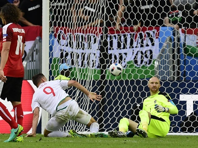 Adam Szalai scores his team's first goal during the Euro 2016 Group F game between Austria and Hungary on June 14, 2016