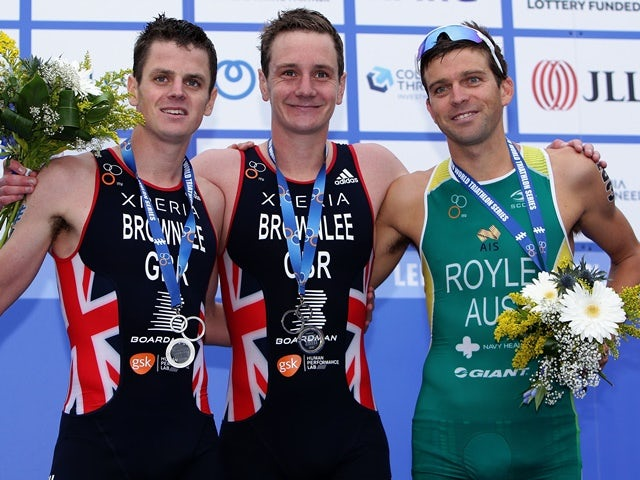 Alistair Brownlee and Jonathan Brownlee of Great Britain and Aaron Royale of Australia pose during the 2016 ITU World Triathlon Leeds on June 12, 2016