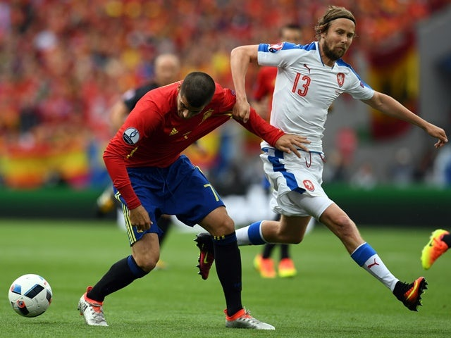 Alvaro Morata and Jaroslav Plasil in action during the Euro 2016 Group D game between Spain and Czech Republic on June 11, 2016