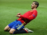 Alvaro Morata celebrates scoring his side's first goal during the Euro 2016 Group D match between Spain and Turkey on July 17, 2016