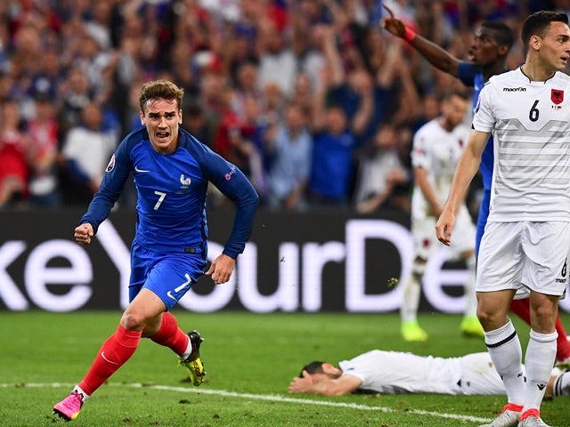 Antoine Griezmann celebrates scoring during the Euro 2016 Group A game between France and Albania on June 15, 2016