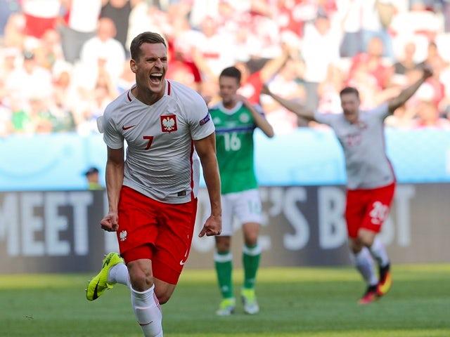 Poland's forward Arkadiusz Milik celebrates his goal during the Euro 2016 Group C match against Northern Ireland on June 12, 2016