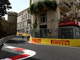 A general view showing the Qosha gate building from the circuit during previews ahead of the European Formula One Grand Prix at Baku City Circuit on June 16, 2016