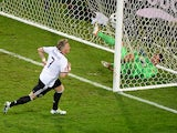 Germany's Bastian Schweinsteiger scores a goal during the Euro 2016 Group C match against Ukraine on June 12, 2016