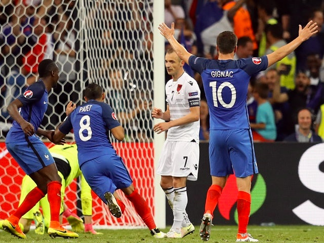 Dimitri Payet celebrates scoring during the Euro 2016 Group A game between France and Albania on June 15, 2016