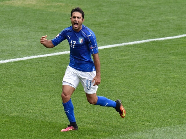 Eder celebrates scoring during the Euro 2016 Group E match between Italy and Sweden on July 17, 2016