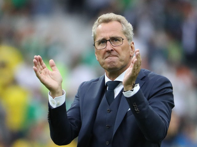 Sweden's coach Erik Hamren applauds at the end of the Euro 2016 group E football match between Ireland and Sweden at the Stade de France stadium in Saint-Denis, near Paris, on June 13, 2016