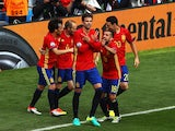 Gerard Pique celebrates scoring during the Euro 2016 Group D game between Spain and Czech Republic on June 13, 2016