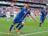 Gylfi Sigurdsson celebrates after scoring during the Euro 2016 Group F match between Iceland and Hungary on July 18, 2016