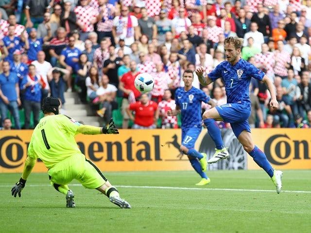 Ivan Rakitic scores during the Euro 2016 Group D match between Czech Republic and Croatia on July 17, 2016