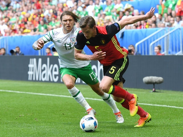 Jan Vertonghen and Jeff Hendrick in action during the Euro 2016 Group E match between Belgium and Republic of Ireland on July 18, 2016