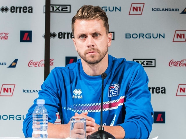 Iceland's Kari Arnason at a press conference on June 16, 2016