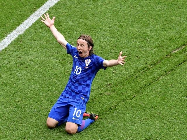 Luka Modric celebrates scoring during the Euro 2016 Group D game between Turkey and Croatia on June 12, 2016