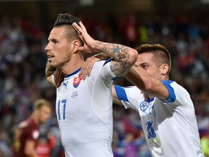 Marek Hamsik celebrates scoring during the Euro 2016 Group B game between Russia and Slovakia on June 15, 2016