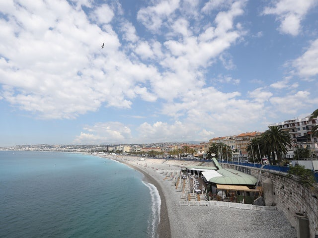 A general view of the beach where a Northern Irish football fan fell in Nice, taken June 13, 2016