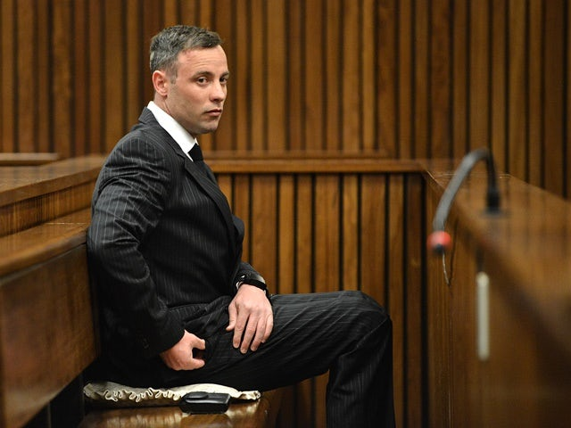 Oscar Pistorius sits inside the dock at the high court in Pretoria ahead of sentencing on June 13, 2016