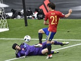 Petr Cech blocks David Silva during the Euro 2016 Group D game between Spain and Czech Republic on June 11, 2016