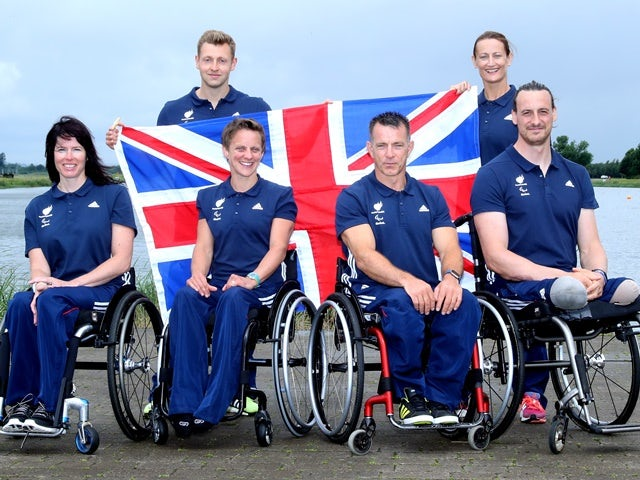 Rob Oliver, Anne Dickens, Jeanette Chippington, Emma Wiggs, Ian Marsden and Nick Beighton pose after announcement of para-canoe athletes named in ParalympicsGB team on June 14, 2016