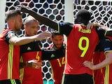 Belgium players celebrate Romelu Lukaku's second during the Euro 2016 Group E match against Republic of Ireland on July 18, 2016