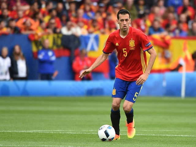 Sergio Busquets in action during the Euro 2016 Group D game between Spain and Czech Republic on June 11, 2016