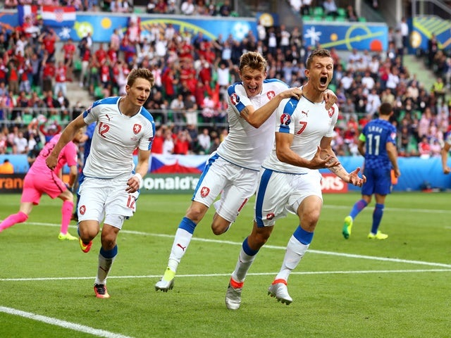 Tomas Necid celebrates after scoring during the Euro 2016 Group D match between Czech Republic and Croatia on July 17, 2016