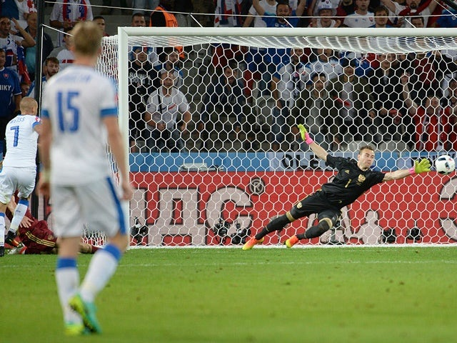 Vladimir Weiss scores during the Euro 2016 Group B game between Russia and Slovakia on June 15, 2016