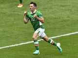Ireland's midfielder Wesley Hoolahan celebrates after scoring a goal during the Euro 2016 Group E football match between Ireland and Sweden at the Stade de France stadium in Saint-Denis on June 13, 2016
