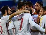 Alvaro Morata celebrates scoring during the Euro 2016 Group D match between Croatia and Spain on June 21, 2016