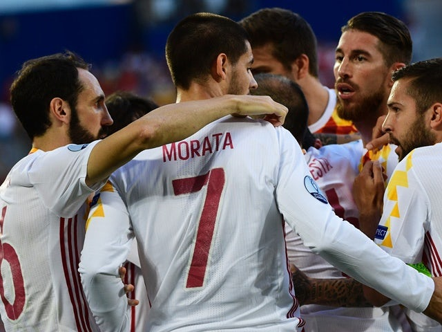Alvaro Morata celebrates scoring during the Euro 2016 Group D match between Croatia and Spain on June 21, 2016