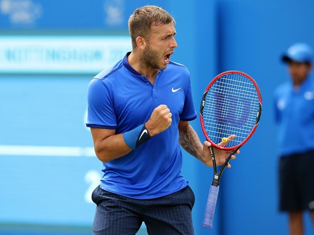 Dan Evans during his men's singles match against Ricardas Berankis during day two of the ATP Aegon Open Nottingham on June 21, 2016