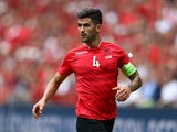 Elseid Hysaj of Albania in action against Switzerland at Stade Bollaert-Delelis on June 11, 2016