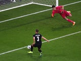 Emir Lenjani misses a chance during the Euro 2016 Group A match between Romania and Albania on June 19, 2016