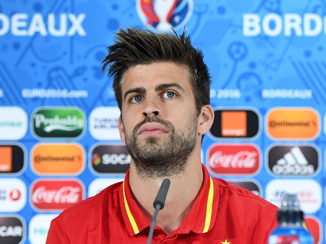 Gerard Pique of Spain answers questions from the media during a press conference on June 20, 2016