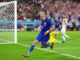 Ivan Perisic celebrates scoring his team's second goal during the Euro 2016 Group D match between Croatia and Spain on June 21, 2016