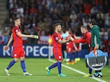 Jack Wilshere is replaced by Wayne Rooney during the Euro 2016 Group B match between Slovakia and England on June 20, 2016