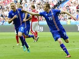 Jon Dadi Bodvarsson celebrates scoring during the Euro 2016 Group F match between Iceland and Austria on June 22, 2016