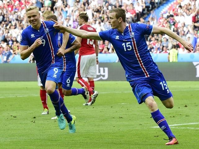 Jon Dadi Bodvarsson celebrates scoring during the Euro 2016 Group F match between Iceland and Austria on June 22, 2016