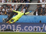 Michael McGovern majestically reaches for the ball during the Euro 2016 Group C match between Northern Ireland and Germany on June 21, 2016