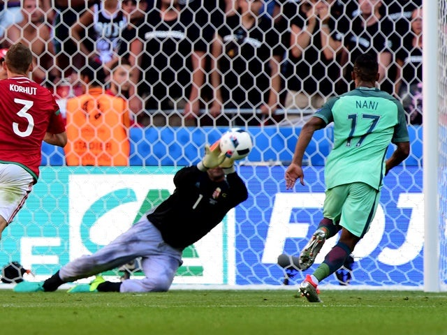 Nani scores during the Euro 2016 Group F match between Hungary and Portugal on June 22, 2016