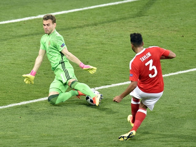 Neil Taylor scores Wales's second during the Euro 2016 Group B match against Russia on June 20, 2016
